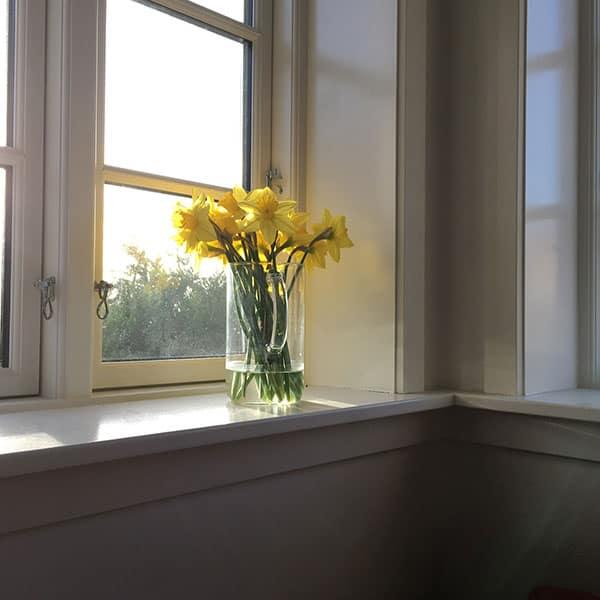 vindueskarm med blomst